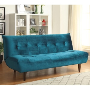 Sofa Beds and Futons - Teal Velvet Sofa Bed with Solid Wood Legs & Tufted Back