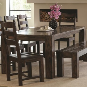 Calabasas Contemporary Dining Table with Wavy Wood Grain
