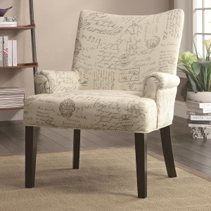 Accent Seating French Script Pattern Accent Chair