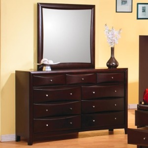 Phoenix Contemporary 9 Drawer Dresser and Mirror