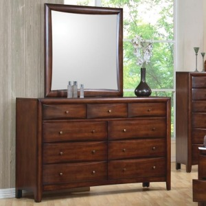 Hillary and Scottsdale Contemporary 9 Drawer Dresser and Mirror