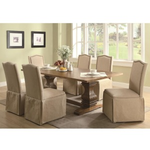 Parkins 7 Piece Dining Table and Parson Skirted Chair Set