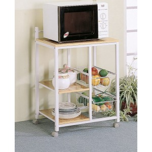 2-Shelf Kitchen Cart Natural Brown And White