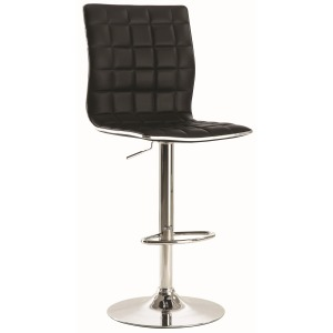 Waffle Adjustable Black and Chrome Bar Stool