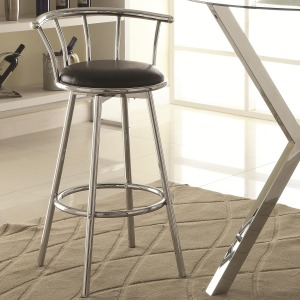 Bar Units and Bar Tables Chrome-Colored Swivel Bar Stool with Black Upholstered Seat