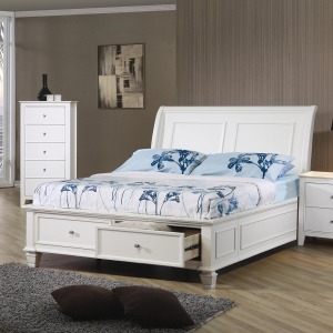 Sandy Beach Full Sleigh Bed with Footboard Storage