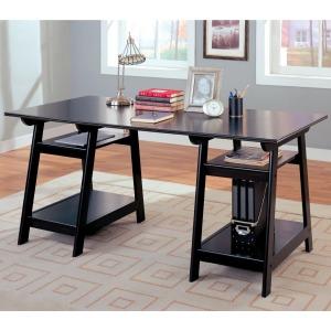 Desks Casual Double Pedestal Desk with Open Shelves