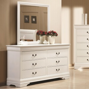 Louis Philippe 204 6 Drawer Dresser and Mirror