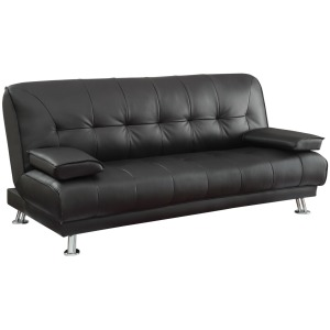Contemporary Black and Chrome Sofa Bed