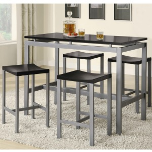 Atlus Counter Height Contemporary Silver Metal Table with Black Top and 4 Stools