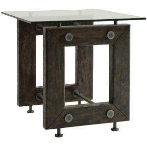 70427 Industrial End Table with Tempered Glass Top
