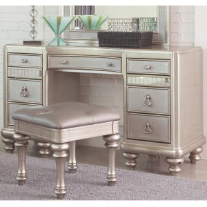 Bling Game Vanity Desk with 7 Drawers and Stacked Bun Feet