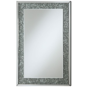 Accent Mirrors Mirror with Mirrored Frame and Pebble-Like Insert
