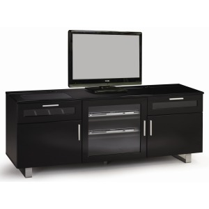 TV Stands Contemporary TV Console with High Gloss Black Finish