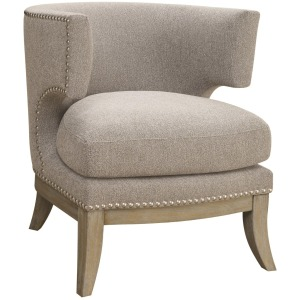 Transitional Grey Exposed Wood Accent Chair