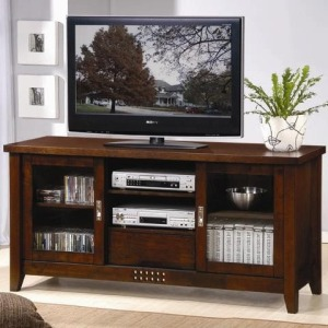 TV Stands Transitional Media Cosole with Doors and Shelves
