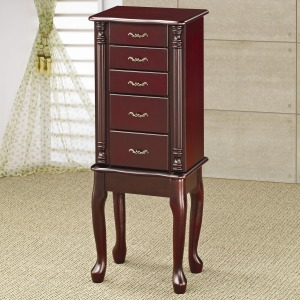 Jewelry Armoires Traditional Queen Anne Style Jewelry Armoire in Cherry Finish