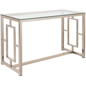 Occasional Group Contemporary Metal Sofa Table with Glass Top & Geometric Motif