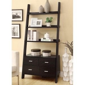 Bookcases Leaning Ladder Bookshelf with 2 Drawers