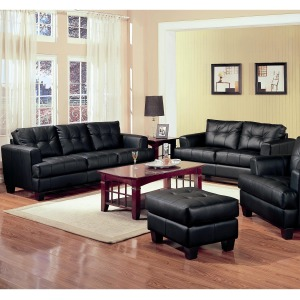 Samuel 2 Piece Black Bonded Leather Loveseat and Sofa Group