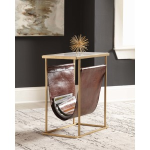 Modern White Marble & Brass Accent Table