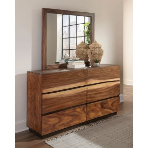 Scott Living Rustic Smoky Walnut Mirro