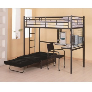 Bunks Twin Loft Bunk Bed with Futon Chair & Desk