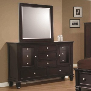 Sandy Beach Classic 11 Drawer Dresser and Vertical Dresser Mirror
