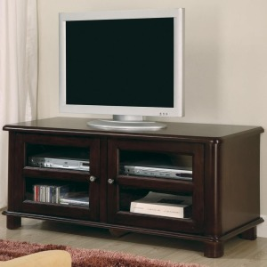 TV Stands Transitional Media Console with Doors and Shelves
