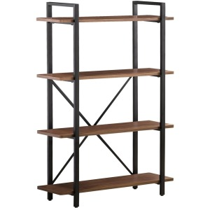 4-Tier Bookcase Walnut And Black
