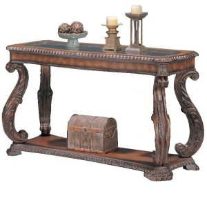 Doyle Traditional Sofa Table with Glass Inlay Top