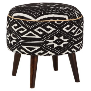 Frankfort Round Accent Stool Black And White