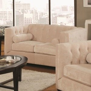 Alexis Transitional Chesterfield Stationary Loveseat with Track Arms