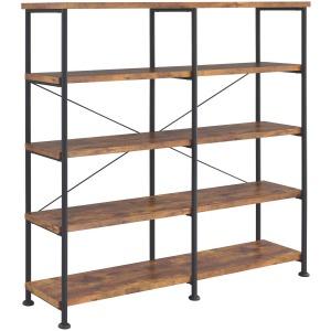 Analiese 4-Shelf Open Bookcase Antique Nutmeg