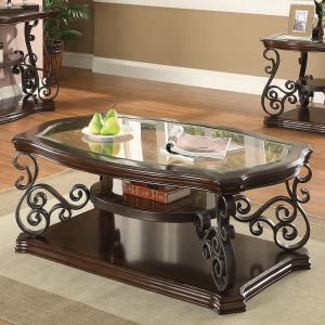Occasional Group Traditional Coffee Table with Tempered Glass Top & Ornate Metal Scrollwork