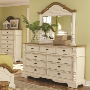 Oleta 9 Drawer Dresser and Mirror Set with Pilaster Detail