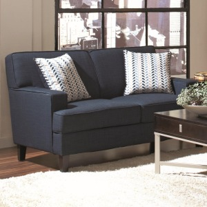 Finley Transitional Love Seat with Track Arms