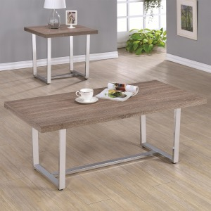 70418 Rectangle Coffee Table with Metal Base and Wood Top