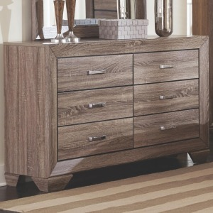 Kauffman Dresser with 6 Drawers and Tapered Feet