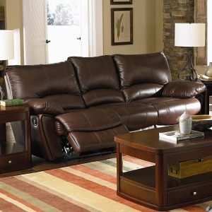 Clifford Brown Leather Double Power Reclining Sofa