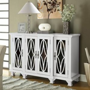 Accent Cabinets Large White Cabinet with 4 Glass Doors