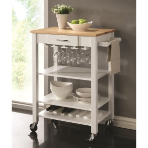 Kitchen Carts White/Natural Kitchen Cart with Butcher Block Top