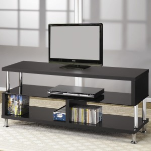 TV Stands Contemporary Media Console with Glass and Chrome Accents