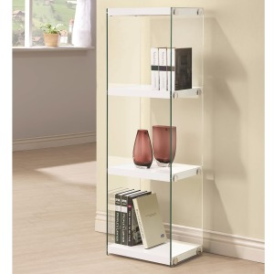 Bookcases Contemporary Three Shelf Bookcase with Glass Shelves and Side Panels