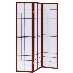 3-Panel Folding Floor Screen White And Cherry