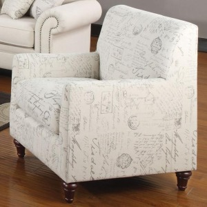 Norah Accent Arm Chair with French Script Pattern