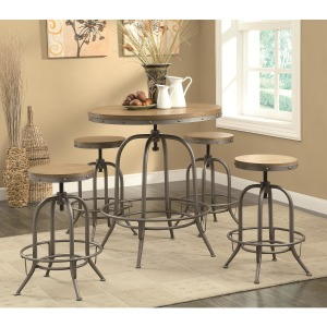 Bar Units and Bar Tables Transitional Adjustable Bar table and Stool Set