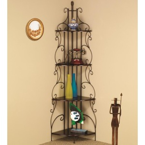 Accent Racks Copper Finished Corner Rack with 4 Shelves