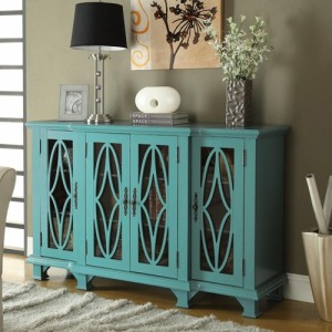 Accent Cabinets Large Teal Cabinet with 4 Glass Doors