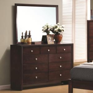 Serenity 9 Drawer Dresser and Rectangular Mirror Combination